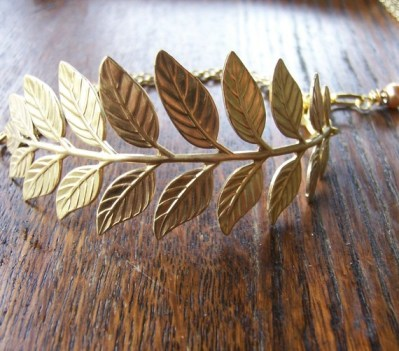 Gold branch cuff bracelet, by BeadsByEvelyn on etsy.com