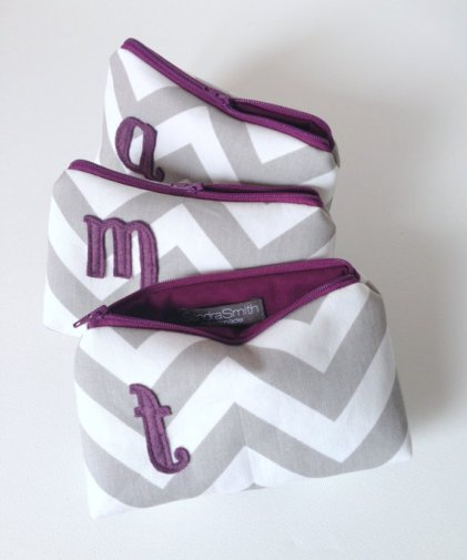 Monogram cosmetic bags, by SandraSmithHandmade on etsy.com