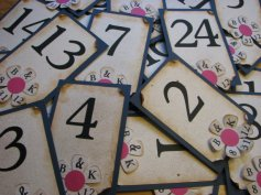 Table numbers, by vintagehillcreations on etsy.com