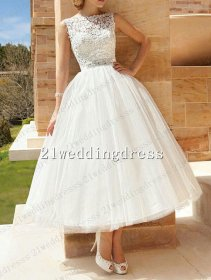 Tea-length wedding dress, by 21weddingdress on etsy.com