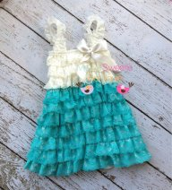 Jade and ivory flower girl dress, by MyLilSweetieBoutique on etsy.com