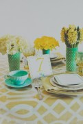 Mint and mustard table setting inspiration {via jesihaackweddingsblog.com}