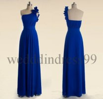 One-shoulder royal blue bridesmaid dress, by weddingdress99 on etsy.com