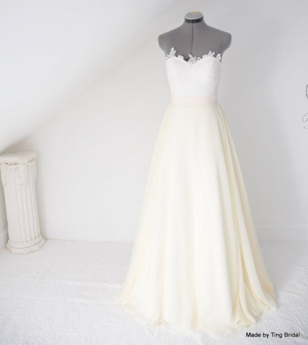 White, ivory and pink wedding gown, by TingBridal on etsy.com