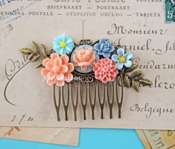 Peach, yellow and light blue hair comb, by JewelsalemBridal on etsy.com