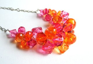 Pink and orange statement necklace, by BuddingCreations1 on etsy.com