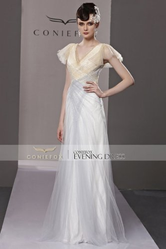 Silver and gold bridal gown, by HotKiss on etsy.com
