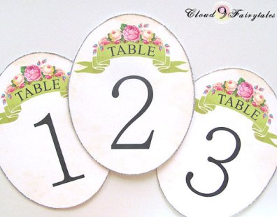 Table numbers, by Cloud9Fairytales on etsy.com