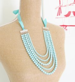 Aqua multi-strand necklace - www.etsy.com/shop/silverliningdecor