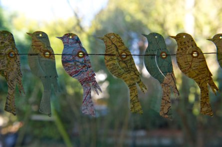 Bird garland made from vintage maps - www.etsy.com/shop/LaMiaCasa