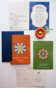 Blue, orange and green wedding invitation suite - www.etsy.com/shop/NooneyArt