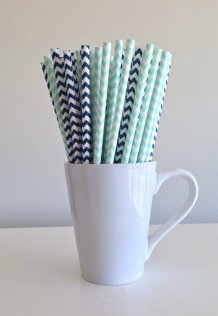 Navy and mint chevron paper straws - www.etsy.com/shop/PuppyCatCrafts
