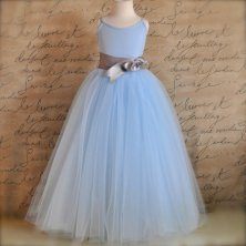 Powder-blue and grey flower girl dress - www.etsy.com/shop/TutusChicBoutique