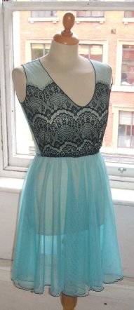 Sky-blue and black lace bridesmaid dress - www.etsy.com/shop/BaylisandKnight