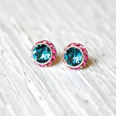 Teal and pink earrings - www.etsy.com/shop/MASHUGANA