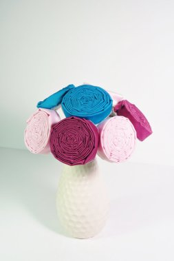 Teal and pink fabric flowers - www.etsy.com/shop/GossamerandQuill