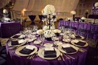 Black, white and purple wedding reception {via weddingwoof ...