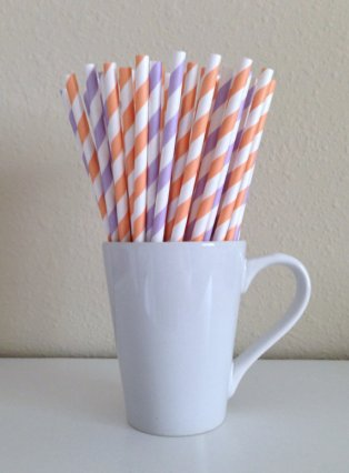 Peach and purple striped paper straws - www.etsy.com/shop/PuppyCatCrafts