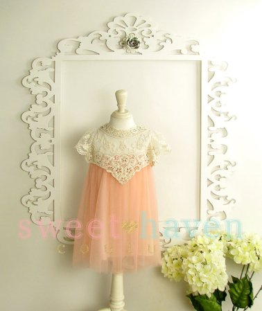 Vintage-inspired peach flower girl dress - www.etsy.com/shop/SweetHavenCouture