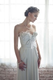 Pale grey wedding dress - www.etsy.com/shop/clairelafaye