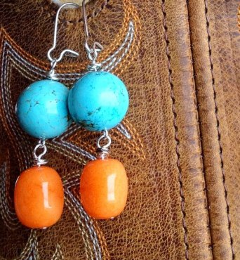 Turquoise and orange earrings - www.etsy.com/shop/joellieboutique