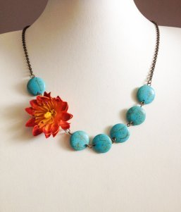 Turquoise and orange necklace - www.etsy.com/shop/BijouxForest