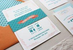Teal and orange wedding invitation - www.etsy.com:shop:papela