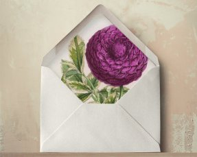 Dahlia envelope liners - www.etsy.com/shop/oakandorchid