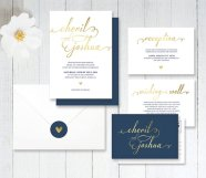 Navy and gold wedding invitation - www.etsy.com/shop/LittleBridgeDesign