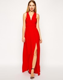 Asos ruched cross-strap maxi dress, from asos.com