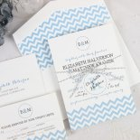 Blue chevron wedding invitation - www.etsy.com/shop/MaraOatmanDesigns
