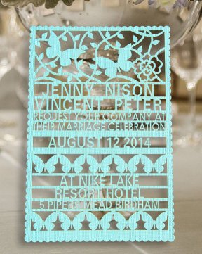 Laser-cut wedding invitation - www.etsy.com/shop/WeddingFavorStore