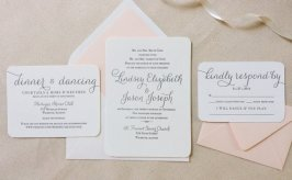 Letterpress blush and white wedding invitation - www.etsy.com/shop/DinglewoodDesign