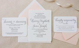 Letterpress blush and white wedding invitation - www.etsy.com/shop/DinglewoodDesign