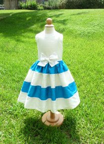 Blue and white flower girl dress - www.etsy.com/shop/ChildrenCouture