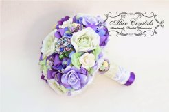 Lilac, green and purple brooch bouquet - www.etsy.com/shop/AliceCrystals