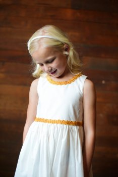 White and gold flower girl dress - www.etsy.com/shop/gillygray