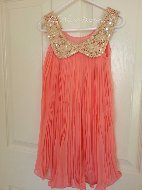 Coral and gold wedding the merry bride for Best etsy wedding dress shops