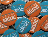 Team bride and team groom buttons - www.etsy.com/shop/theangryrobot