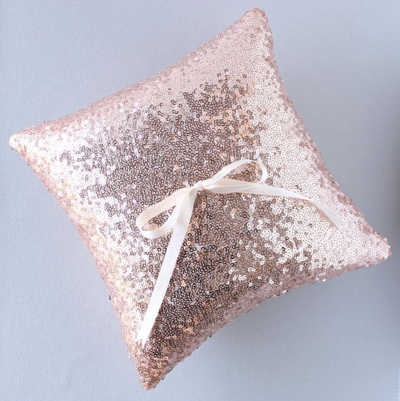 Rose-gold sequinned ring pillow - www.etsy.com/shop/StitchesandSnow
