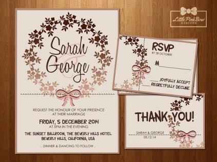Rose-gold wedding invitation - www.etsy.com/shop/LittlePinkBowDesigns