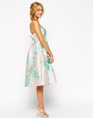 ASOS WEDDING Structured Skater Dress With Bow Back In Mint Rose Print, from asos.com