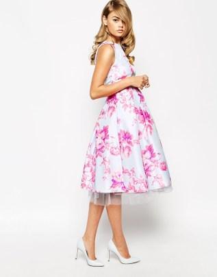 True Violet Sateen Floral Print Debutante Prom Midi Dress, from asos.com