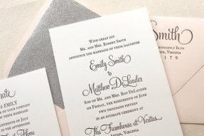 Silver and blush wedding invitation - www.etsy.com/shop/DinglewoodDesign
