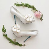 White magnolia heels with blue soles - www.etsy.com/shop/BellaBelleShoe