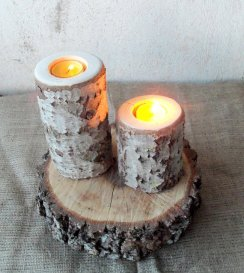 Wooden log candle-holders - www.etsy.com/shop/forestinspiration
