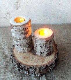 Wooden log candle-holders - www.etsy.com/shop/forestinspiration