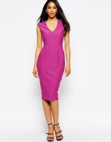 ASOS Wiggle Dress with V Neck in Textured Jersey - asos.com
