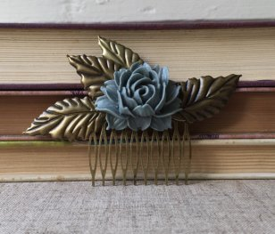 Dusty blue vintage-style hair comb - www.etsy.com/shop/MyPrettyBittyThings