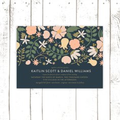 Navy and floral wedding invitation - www.etsy.com/shop/MooseberryPaperCo